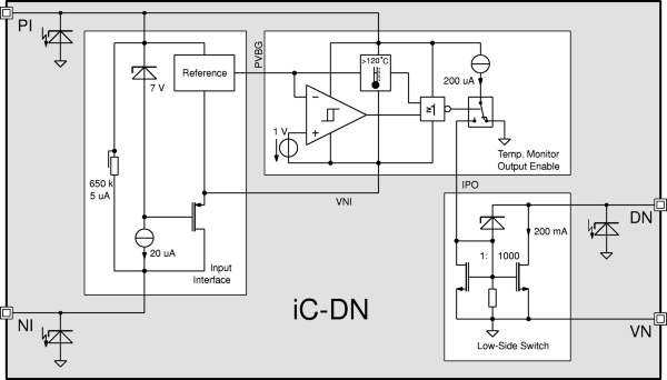 200 mA Low-Side Switch for 4 V to 36 V with Input/Output Decoupling